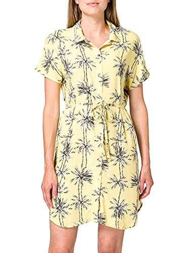 Only Onlnova Life S/S Shirt Dress WVN 7 Vestido, Amarillo/AOP: Palmera, 44 para Mujer