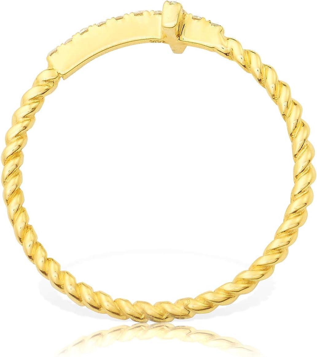 LoveBling 0.15 Carat (ctw) Diamond Designer Diamond Sideways Cross Ring with Rope band in 14 Karat (K) Yellow Gold Ring (sizes 5-9)