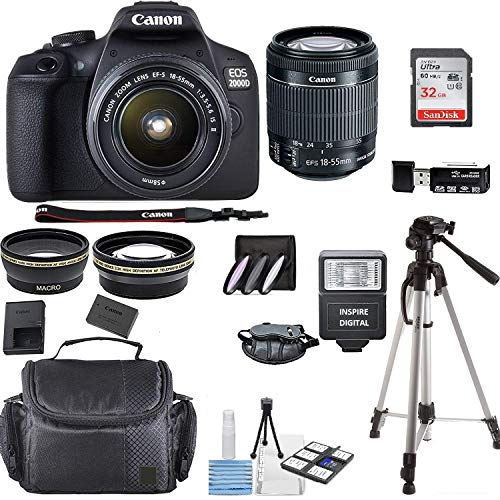 Canon EOS 2000D Rebel T7 Kit with EF-S 0.709-2.165in f/3.5-5.6 III Lens + Accessory Bundle + Inspire Digital Deals Cloth