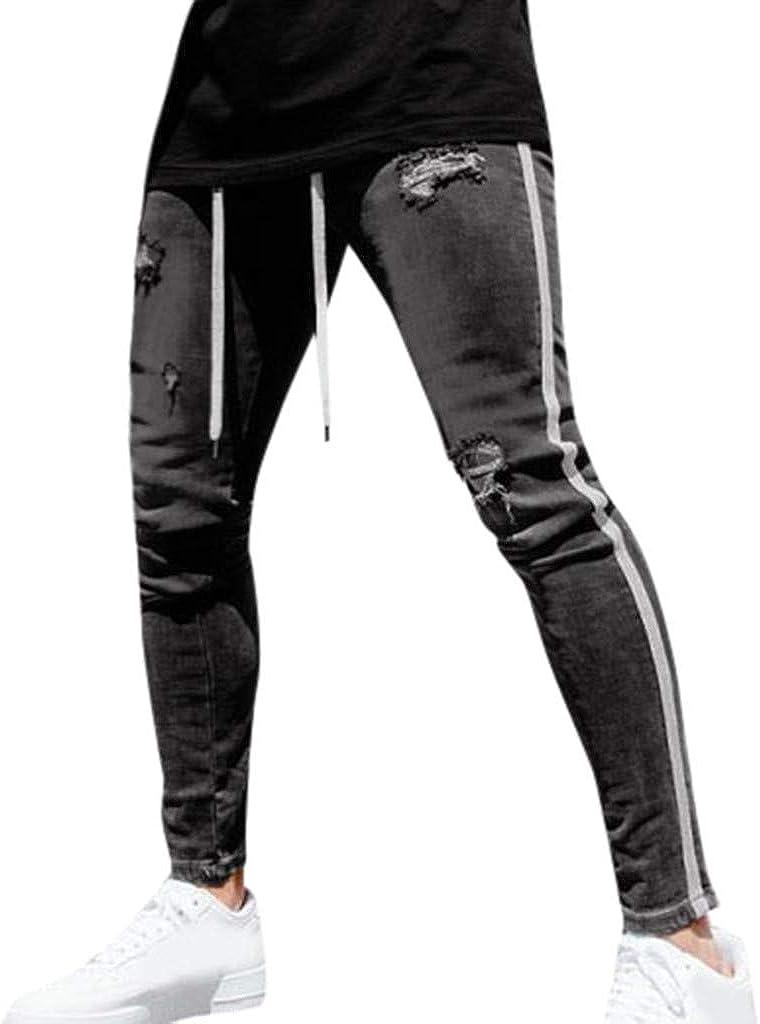 IHGTZS Pants for Men, Men's Fashion Casual Denim Straight Hole Trouser Distressed Jeans Long Pants