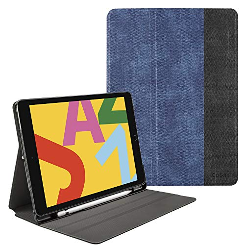 CoBak Case for iPad 7th Generation 10.2' 2019 - Fits iPad Air 3rd Generation 10.5', iPad Pro 10.5' 2017, Premium PU Leather Smart Shell Stand Cover with Auto Sleep Wake Feature, Jeans Blue