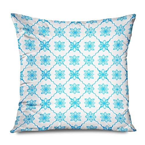 N/Q Funda de cojín Azulejo de Esmalte portugués Azulejo de Loza Azulejos Azul Blanco Santorini para Estuches Teléfonos Inteligentes Toallas Ropa de Cama Funda de Almohada