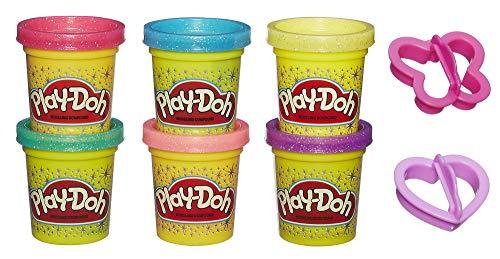 Play-Doh – 6 pots de Pate A Modeler à Paillettes et 2 accessoires - 56 g chacun
