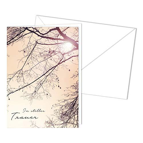 Würdevolle Trauerkarte mit Umschlag I DIN A6 I Beileidskarte Kondolenzkarte mit Natur-Motiv I hochwertig, modern I In stiller Trauer dv_502