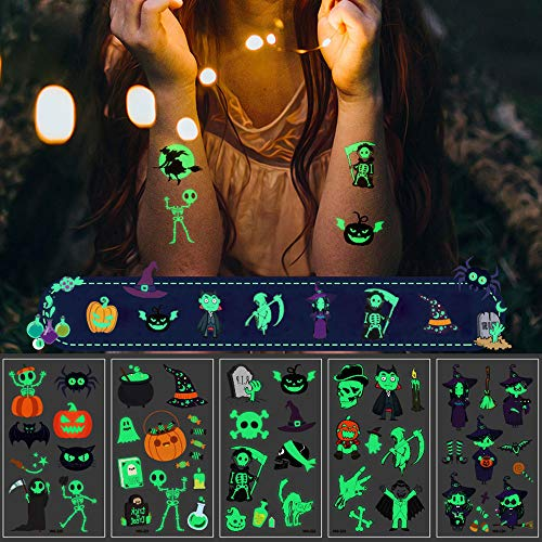 LIARTY 10 Stück Halloween Leuchtende Tätowierungs Aufkleber Einweg Sticker Wasserdicht Temporäre Tattoos Aufkleber
