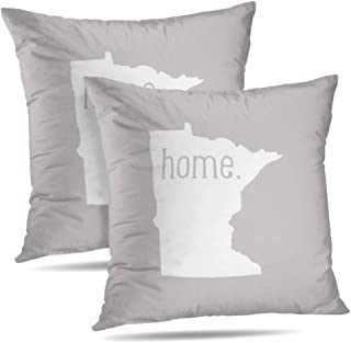 Newhomestyle Home Minnesota Home State Map Zippered Pillow Cover Gray Throw Pillow Case Cushion Cover 20x20 in Set of 2 Double Sided