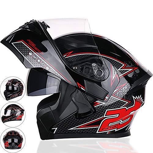 Flip Up Front Motorcycle Helmet, Cascos de Moto, Casco de Motocicleta Lente antiniebla para Hombres Damas Coche eléctrico Locomotora Racing,L