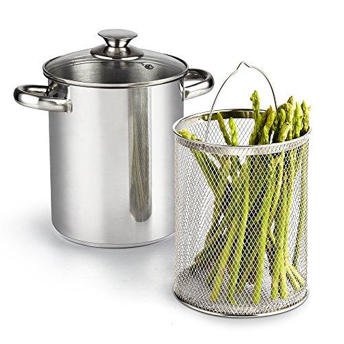 Cook N Home 4 Quart 3-Piece Vegetable Asparagus Steamer Pot, Stainless Steel
