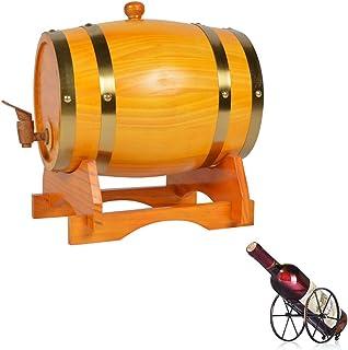 ZGQJT Seau en Bois de Stockage de Whisky en Fût de Chêne 5L, Adapté au Stockage de Vins de Rhum à Whisky avec Porte-Boutei...