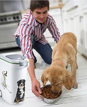 CURVER   Conteneur à croquettes 54L/20Kg Love pets Chien, Blanc, 49,3 x 27,8 x 60,5 cm, Plastique