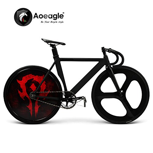 700C Cool Fixed Gear Bike, Road Bike, Racing Bike, Flash Bicycle, Aluminum Alloy Muscle Frame, Shiny Rear Wheel, Carbon Fiber Fork & Front Wheel (E)