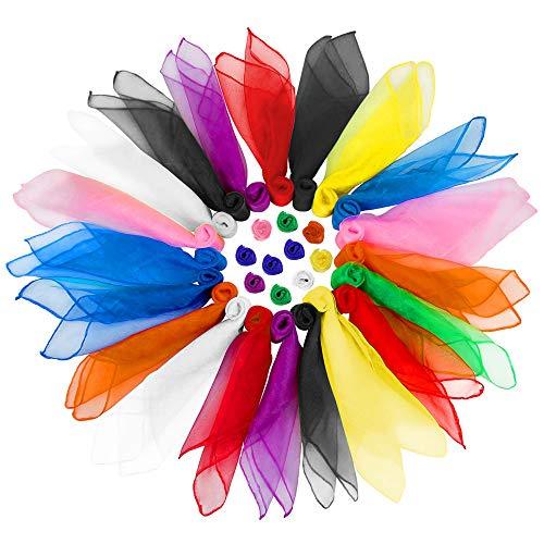 EKdirect 30 Stück Tanz Tücher, Square Jongliertücher Performance Schals für Kindergarten Kindershow 70 x 70 cm