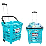 dbest products Bigger Gocart 5 Pack Grocery Cart Rolling Shopping Laundry Basket on