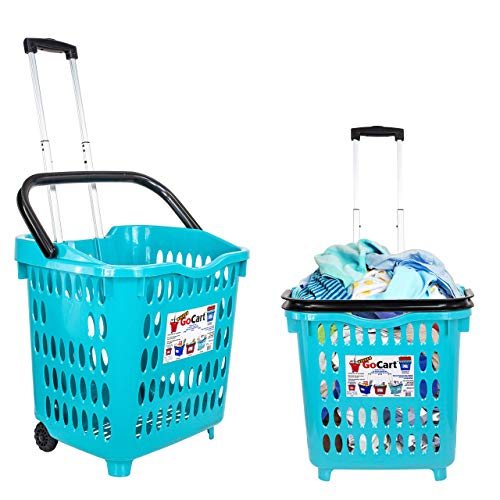 dbest products Bigger Gocart 5 Pack Grocery Cart Rolling Shopping Laundry Basket on Wheels Hamper with Telescopic Handle Cleaning Caddy Trolley, Teal, 5 Count