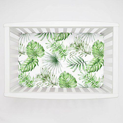 Carousel Designs Green Painted Tropical Mini Crib Sheet Extra Deep - Organic 100% Cotton Fitted Mini Crib Sheet - Made in The USA