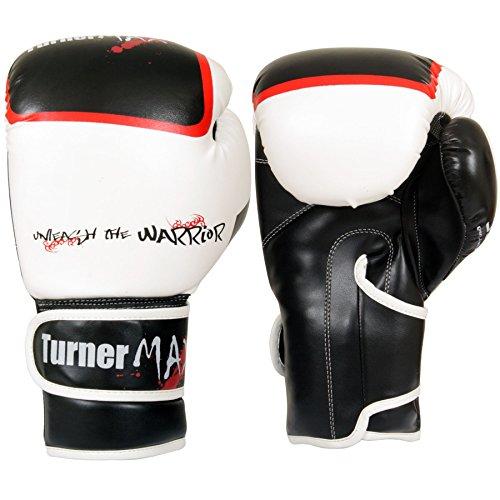 TurnerMAX Rex lederen gel bokshandschoenen gevechten bokszak MMA Muay Thai Grappling wit zwart 284