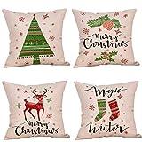 Bumen Weihnachten 4 Stück Kissenbezüge 45x45 cm aus Bettwäsche aus Baumwolle Kissenhüllen 6er...