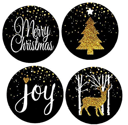 48pack Black Glitter Merry Christmas Joy Deer Tree Assortment Stickers Labels Envelope Decorative Seals -1.5inch