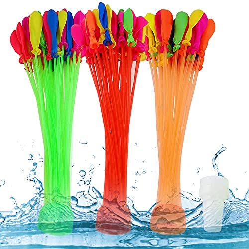 WELLXUNK Wasserbomben Bunch Balloons, Wasser-Bomben, Wasserbomben Schnellfüller 3 Bündel mit je 37 Wasserballons, Wasserbomben Luftballons, Wasserbomben Schnellfüller...