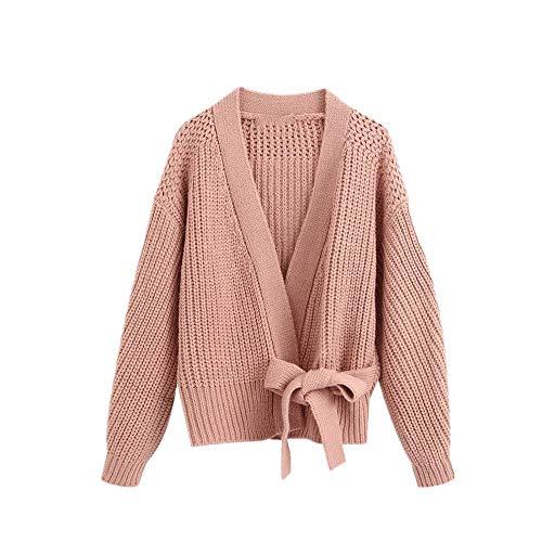 N\P Mujeres con Arco Atado Recortar Punto Cardigan Suéter Vintage Manga Larga Envoltura Mujer Ropa Exterior