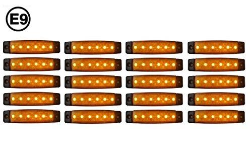 A1 20 x LED 24V ORANGE BEGRENZUNGSLEUCHTE POSITIONSLEUCHTE SEITENMARKIERUNGSLEUCHTE LKW