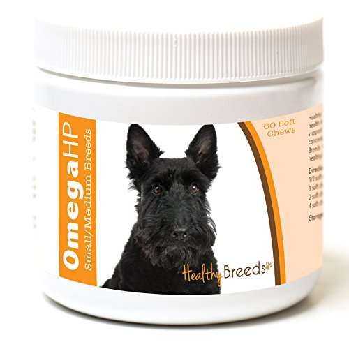 Healthy Breeds Omega 3 Skin and Coat Supplement for Dogs for Scottish Terrier - Over 100 Breeds - EPA & DHA Fatty Acids - Small & Medium Breed Formula - 60 Count
