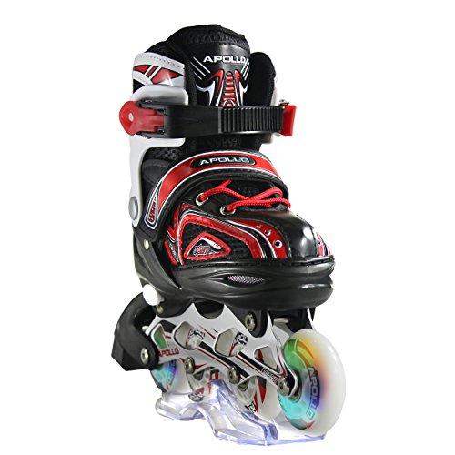 Apollo Super Blades X Pro, größenverstellbar von 31 bis 42, LED Inline-Skates, Rollerblades für Kinder, ideal für Anfänger, komfortable Rollschuhe, Inliner für Mädchen und Jungen, Rot, M (35-38)