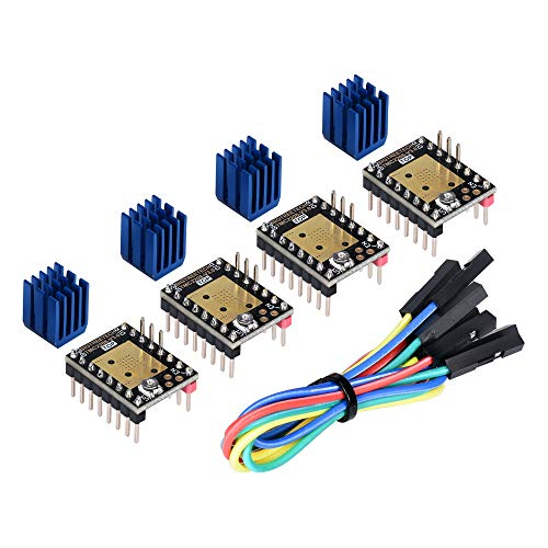 Kingprint TMC2208 V3.0 Stepper Damper with Heat Sink Driver, Replacement Damper for A4988 DRV8825 for 3D Printer (4 pieces) (TMC2208-V3.0-UART)
