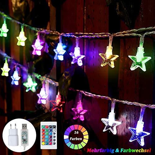 50 LED Bunt Lichterkette Sterne, 7.5M 4 Modi Stern Lichterkette Kinder USB mit Fernbedienung, Farbwechsel Fairy Lights Außen für Weihnachtsbaum, Weihnachten, Prinzessin Schloss, Spielzelt (16 Farben)