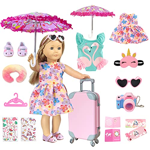 18 inch American Doll Clothes and Accessories - Doll Travel Suitcase Play Set Including Luggage, 2 Sets of Doll Clothes and Shoes, Umbrella Sunglasses Camera Travel Pillow Blindfold Passport Tickets