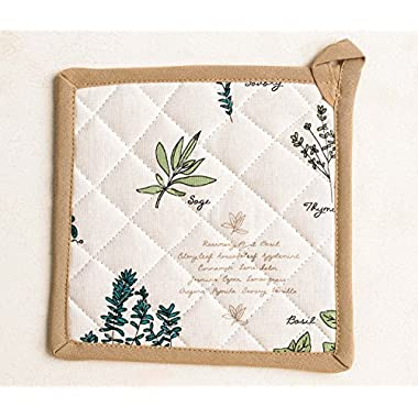 Mayfair Linen 100% Cotton Pot Holder, 8 - inch by 8 - inch Designed in France by (Basil)