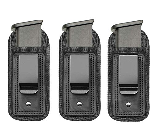 TACwolf 3 Pack IWB Inside Waistband Pistol Handgun Magazine Holster Pouch for Concealed Carry Universal Single Double Stack Mags for Glock17 26 19 Sig Sauer S&W Springfield XD Ruger 9mm/.45