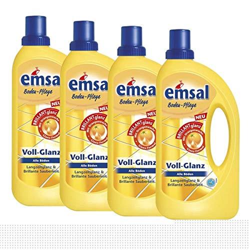 4x emsal Boden-Pflege Voll-Glanz 1 Liter, Langzeitglanz & Brillante Sauberkeit mit Orangenwachs