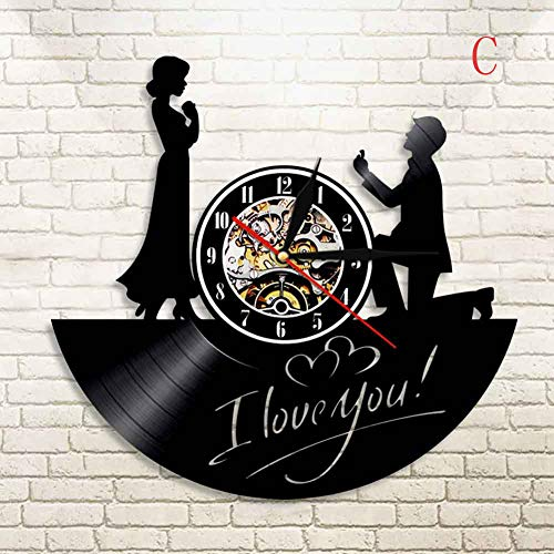 MU2827924 Vinyl Uhr romantische Liebespaar Rekord Wanduhr Retro nostalgische Dekoration Wanduhr Dekoration Geschenk 12 Zoll,C