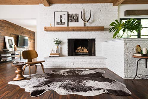 Loloi II GC-03 Grand Canyon Collection Faux Cowhide Area Rug, 3'-10' x 5', IVORY/CHARCOAL