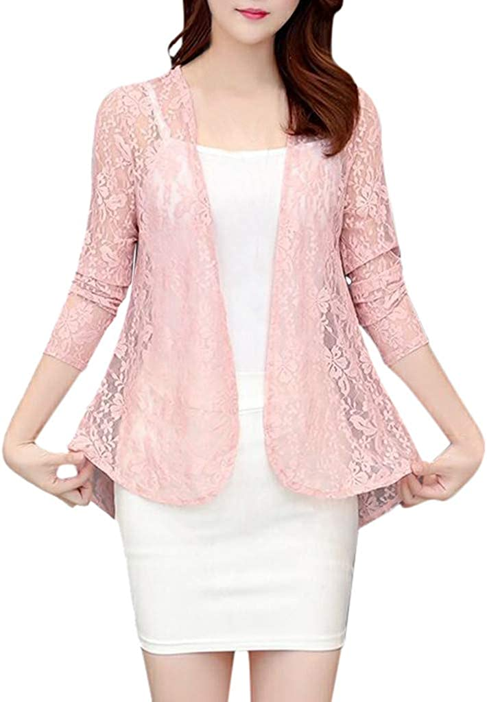 Women's Open Lace Cardigan Lightweight Long Sleeve Casual Tops Sheer Cover Up Knit Kimono Cardigan Jacket