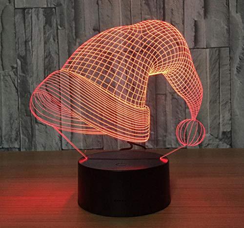 Kerstmuts patroon geschenken 3D-nachtlampje 7 kleuren nachtlampje voor kinderen met afstandsbediening veranderen jaar voor jongens verjaardagscadeau verlichten