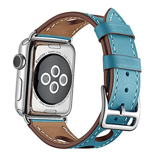 Correa Reloj para Apple Watch Series 1/2/3/4/5/6/SE, Compatible con Correa iWatch 38mm 40mm 42mm 44mm con Hebilla de Acero Inoxidable, Cuero Genuino Correa de Reloj,Blue,42mm/44mm
