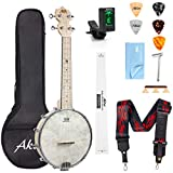 AKLOT Banjo Ukulele Concert 23 inch Remo Drumhead Open Back Maple Body 15:1 Advanced Tuner with Two Way Truss Rod Gig Bag Tuner String Strap Picks