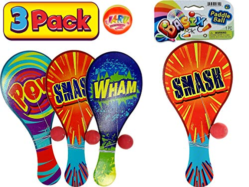 JA-RU Wood Paddle Ball with String (Pack of 3) Real Quality Paddle Balls Classic Game Toy | Item #751-3p