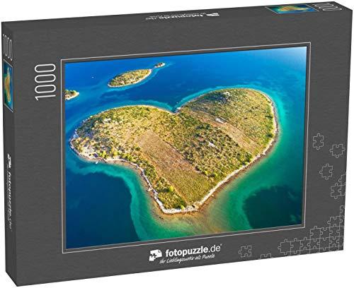 fotopuzzle.de Puzzle 1000 Teile Herzförmige Insel Galesnjak im Zadar-Archipel Luftaufnahme, Dalmatien Region Kroatien