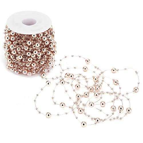 AMONIDA 【𝐏𝐚𝐬𝐪𝐮𝐚】 Catena di Perline di Perle, 30 m Oro Rosa ABS Imitazione di Perle di Perle Catena di Perline per Fai da Te Ghirlanda centrotavola Matrimonio Forniture per Feste (Oro Rosa)