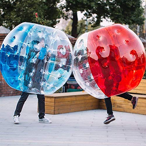 L&WB Inflable Portátil Compromiso Parachoques Zorb Bolas TPU Transparente Golpeador Humano Bola Burbuja Fútbol, Bola De Hamster Humano para Niños Adultos Fiestas Juego Al Aire Libre,Azul,100cm