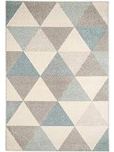 benuta Alfombra Pastel Geomet | Moderna Alfombra para salón y Dormitorio, Fibra sintética, Turquesa, 120 x 170 cm