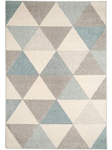 benuta Alfombra Pastel Geomet Turquesa 80 x 150 cm | Moderna Alfombra para salón y Dormitorio