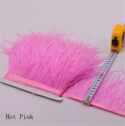 Flecos de plumas de avestruz de 34 colores para hacer sombreros o vestidos hot pink
