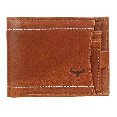 AlphaHide Cartera con bloqueo RFID, delgada y elegante, estilo informal, con tarjetero para tarjetas de identificación extraíble, de piel auténtica (marrón)
