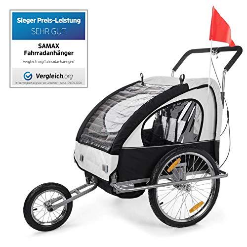 SAMAX Fahrradanhänger Jogger 2in1 Anhänger in Weiß/Schwarz - Silver Frame