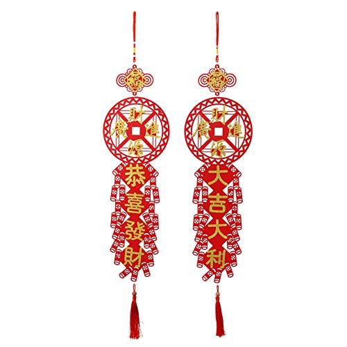 BYARSS Pareados, 2 Piezas Pareados Tradicionales Año Nuevo Chino Festival de Primavera Colgante Colgante Decoración del hogar