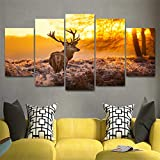 5 Piece Elk Painting Modern Home Wall Decor Canvas Picture Art HD Print Wall Painting Set of 5 Each Canvas(Enmarcado)